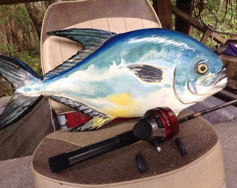 """Permit fish 20"""" chainsaw wood carving tropical fish beach home decor wooden wall mount collectible saltwater fishing art sculpture"""