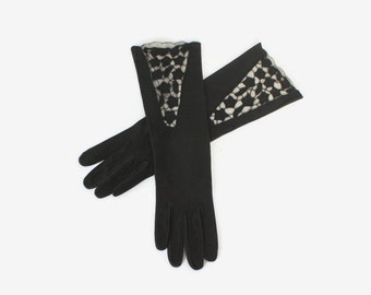 Vintage 40s Leather GLOVES / 1940s Black Suede Finish Leather Embroidered Cutwork Long Gloves