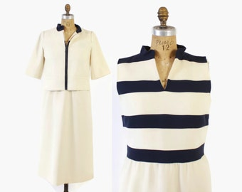 Vintage 60s Courreges DRESS Set / 1960s Navy & Ivory Striped Wool Dress and Matching Jacket Ensemble L B