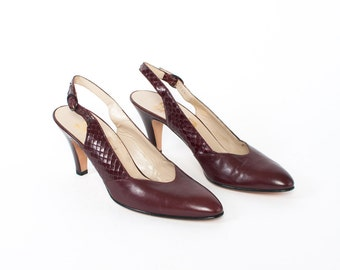 Vintage 80s FERRAGAMO Heels / 1980s Unworn BURGUNDY Snake Skin & Leather Slingback Pumps 8 New Old Stock Shoes 8 1/2