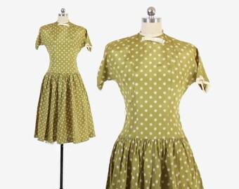 Vintage 50s DRESS / 50s Polka Dot Green Full Skirt Rockabilly Dress S