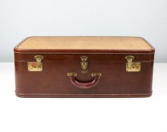 Vintage Suitcase, Two Tone Brown and Tweed, Suitcase Vintage 1940s, Antique Suitcase, Tweed Suitcase, Old Suitcase, Vintage Travel