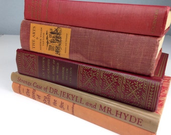 Vintage Book Collection in Red, Orange, Rust / Dr Jelyll and Mr Hyde, Goethe, The Arts, Books for Home Decor, Prop Books, Antique Books