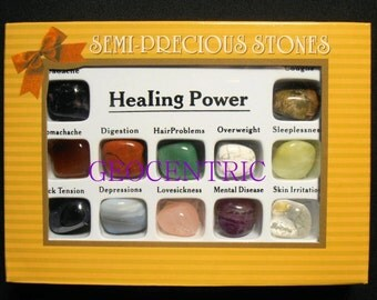 Healing Stone Set of 12 Stones to help balance and revitalize your energy Boxed Gift Set