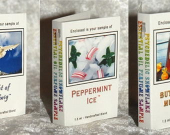 Essential Oil Perfume SAMPLES Flight of Hedwig Butterbeer Mustache Peppermint Ice
