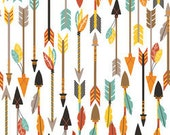 SALE! Arrow Fabric Cotton Quills & Arrows in White Cotton Luckie from Blend Fabrics One Yard