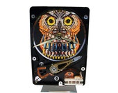 """Hard Drive Clock with Computer Parts """"Wise Owl"""" Dial. A Great Teacher or Professor Gift!"""