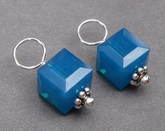 Swarovski Crystal Caribbean Cube, Swarovski Crystal Charm,  Bead Dangles, Stitch Markers, Interchangeable Earring Components, 6mm