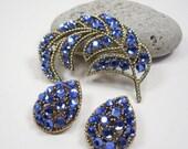 Summer Sale Matching Brooch & Clip Earrings, Vintage Weiss Beautiful Blue Crystal Rhinestone Brooch Pin and Clip On Earrings, Jewellery Demi