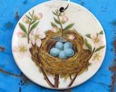 Bird Nest Wooden Pendant