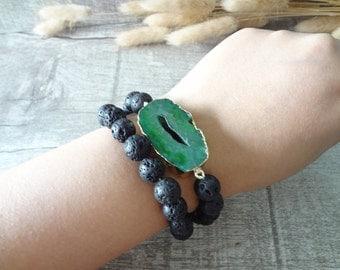 Raw Stone Bracelet Boho Bracelet Beaded Bracelet Volcanic Lava Bead Gemstone Layered Bracelet Elastic Women's Bracelet 12686