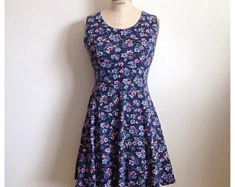 Vintage 1990s dark blue floral mini dress