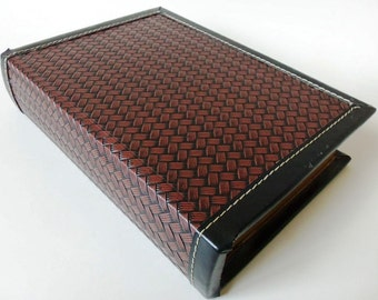 "Wood Book Box, Jewelry Safe, Faux Woven Leather 7"" x 9"" Vintage"
