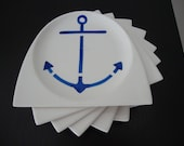 8 Vintage Anchor Nautical Steubenville Ivory Plates Coasters