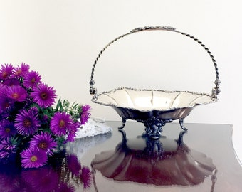 Pairpoint Silverplate Bride's Basket Vintage Wedding Decor Antique Quadruple Plate Compote Fruit Basket Edwardian Style Elegance