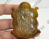Charm Double Side Face Carved tortoise jade Pendant Gemstone,Carved Jade Pendant,jade Amulet Talisman pendant findings