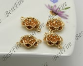 4 pcs 13x20mm 24K Gold Plated Flower Brass Charm Pendant,Connectors Jewelry Findings,metal brass spacers findings beads