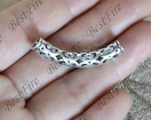 2pcs Antique Silver Hole Curved Tube, Charm Spacer beads ,Charms Jewelry Findings,metal brass spacers finding beads