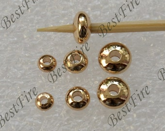 10 pcs 3.5mm,4.5mm,6mm 24K Gold Filled Brass Plump Saucer Beads,Charms Jewelry Findings,metal brass spacers finding beads