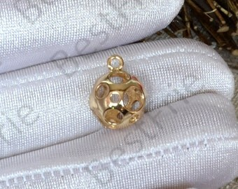 2 pcs 24K Gold plated Brass Ball Pendant, Ball pendant Connector,necklace Connector loose bead, Charms Jewelry finding beads