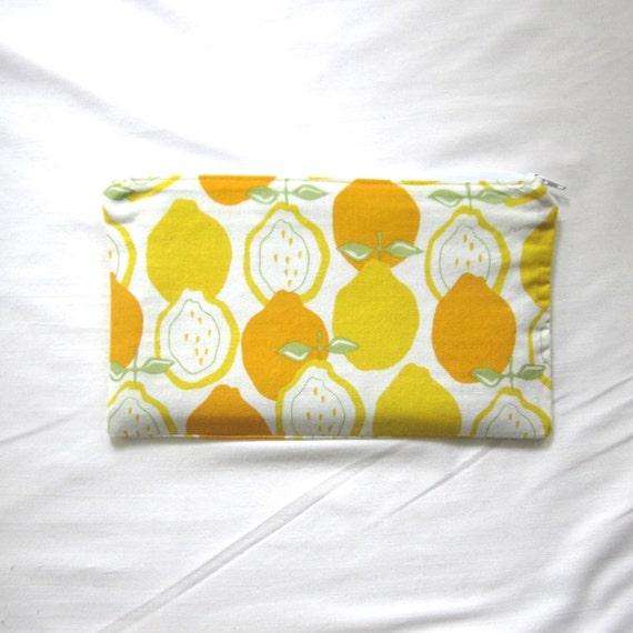 Lemons  Fabric Zipper Pouch / Pencil Case / Make Up Bag / Gadget Sack