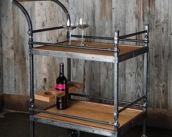 Rustic Industrial Bar Cart