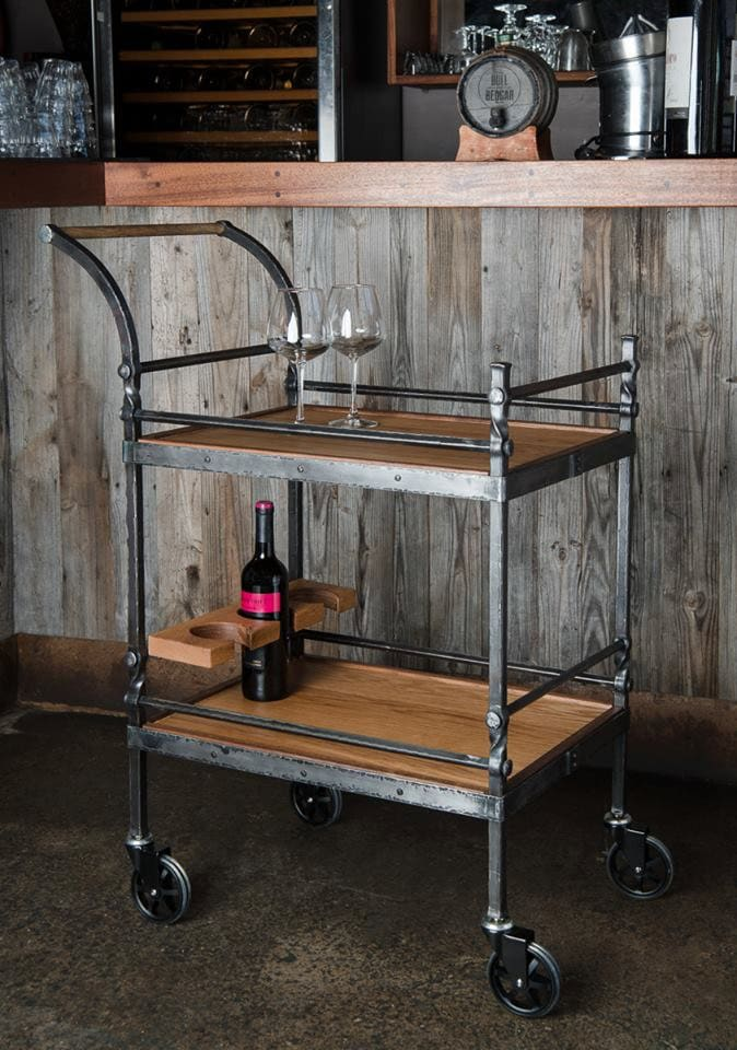 rustic industrial bar cart. Black Bedroom Furniture Sets. Home Design Ideas