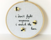 Supernatural Castiel Quote Cross Stitch Hoop, I watch the bees, Ready to Ship