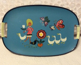 FALL SALE Vintage Groovy Happy Tray Plastic Rattan Handles 1960s Midcentury Modern Girl Goose Butterfly