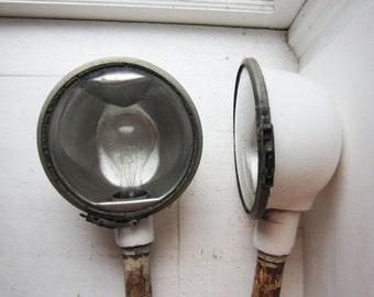 ON SALE Pair Vintage Industrial Sign Lights - White Porcelain Enamel Spot Light Set