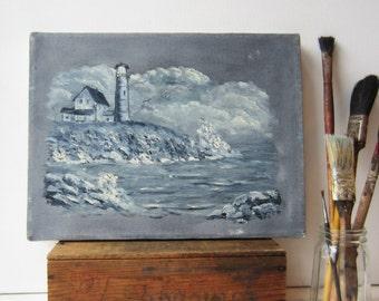 Vintage Oil Painting - Monochromatic Lighthouse Seascape - Grey / Blue