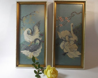 Needlepoint Framed Pictures Set of 2 1950s Needlepoint Swans Water Birds Framed Needlepoint