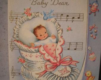 Vintage Mid Century Unused Greeting Card - Get Well Soon - Little Darling