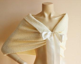 Cream Bridal Capelet / Wedding Wrap Shrug Bolero/Hand Knit  Acrylic scarf with Bow-vegan scarf-Everyday Cape