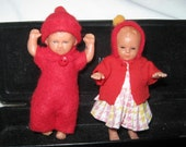 Pair of Tiny Dolls - Miniature Vintage Dolls - German 1950's Dolls House Dolls - Tiny Dolls in Red Outfits