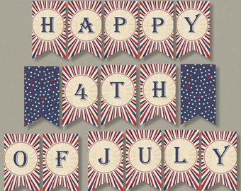 4th of July Banner | Happy Fourth of July, Flag Banner, July 4, 4th of July, Print and Assemble | INSTANT DOWNLOAD