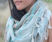 Agua Handwoven Etherial Scarf - Soft & Simple Organic Cotton Linen and Raw Silk