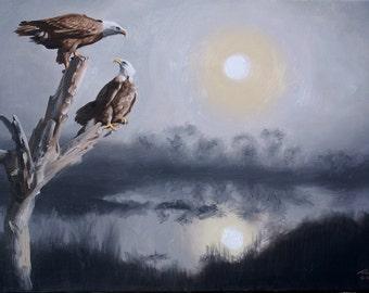 Eagles wildlife bird 24x36 (61 x 91.4 cm) oils on canvas by RUSTY RUST / E-195