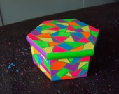 Handpainted Box Geometric Designs Bright Colors with Stained Glass Look Six Sides Box Bright Pink Yellow Orange Blue and Green