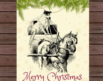 Vintage Sleigh Ride Christmas Cards, Box set-10 Cards