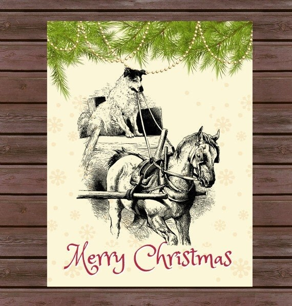 Vintage Sleigh Ride Christmas Cards, Box set-10 Cards