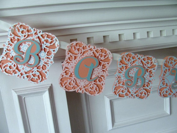 Baby Shower Banner, Coral and Aqua, Baby Shower Decoration, It's A Girl Banner