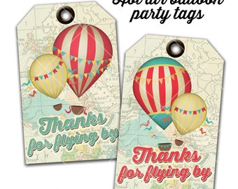Hot Air Balloon Thank You Tags, Favor Tags, Gift Tags, Thanks for flying by, Instant Download, Print Your Own