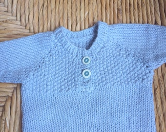 Hand knitted baby Guernsey, baby top,  proceeds to charity, cotton, newborn