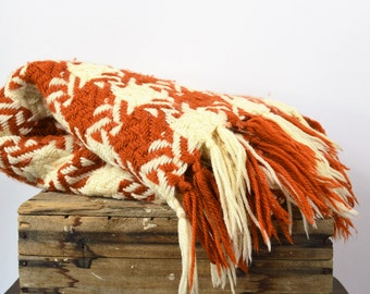 "Vintage Wool Throw Rust and Off White Woven Check Throw with Fringe 54 X 68 plus 4"" Fringe"