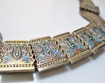 Turkish Necklace, Enamel and Silver Choker, Multi Chain Necklace, Ethnic Jewelry, Turkish Jewelry, Byzantine Style