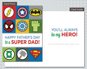 Superhero Father's Day Card, 5x7 inch