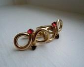 SALE Art Deco 12K Gold Filled Infinity Love Knot Garnet Glass Cuff Links, Valentine's, Engagement, Wedding