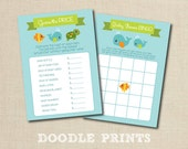 """Ocean Sea Baby Shower Games - Price is Right Game and Bingo Game Printables Baby Shower, Whales, Turtle, Fish Instant Download - 5x7"""""""