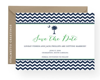 South Carolina Palmetto Moon Modern Chevron Save the Date Wedding announcement available in any color and without moon by Palmetto Greetings